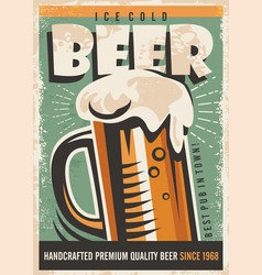 Beer retro poster design vector