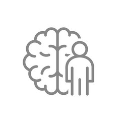 brain with man line icon central nervous system vector image