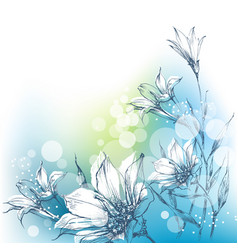 Bright floral background in blue and green white vector
