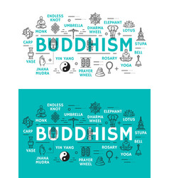 Buddhism religion and items icons vector