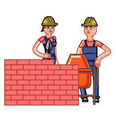 Builder build a brick wall vector