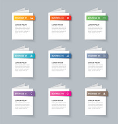 Business infographics book template with 9 data vector