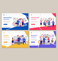 Business partners landing web pages template vector
