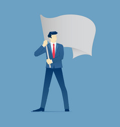 businessman stands and holds a flag vector image