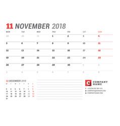 Calendar template for november 2017 business vector
