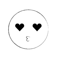 cartoon emoji kissing love smile icon vector image