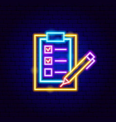 check clipboard neon sign vector image