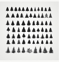 Christmas tree silhouette design set vector