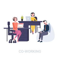 coworkers in headset operators sitting vector image