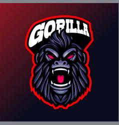 Cruel gorilla head mascot logo vector