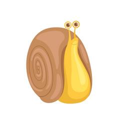 Cute little garden snail on a vector