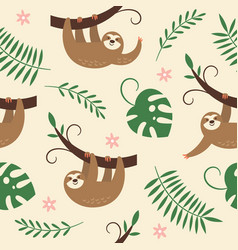 cute sloths hanging on tree vector image