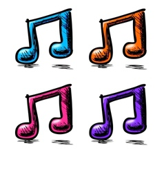 Double music notes set in childish doodle style vector image vector image