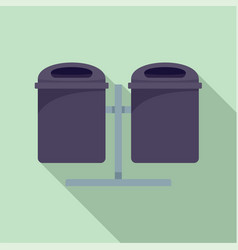 double trash can icon flat style vector image