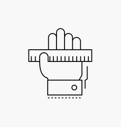 education hand learn learning ruler line icon vector image