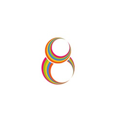 Eight 8 logo abstract colored rings infinity vector image