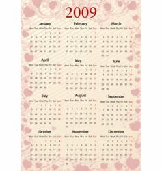 european pink calendar with hearts vector image