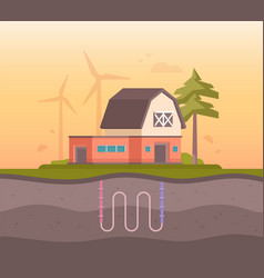 farm house with sewage system - modern flat design vector image