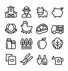 farm icons set line icon vector image