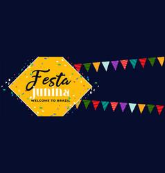 festa junina fun carnival banner design vector image