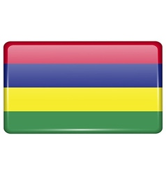 Flags Mauritius in the form of a magnet on vector