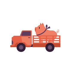 Flat farmer truck pickup delivering livestock vector