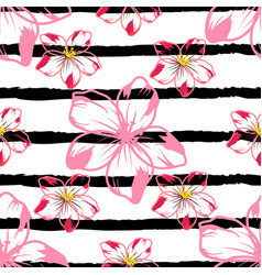 Flowers on a striped background 1 vector