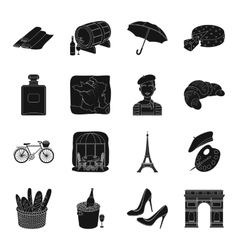 France country set icons in black style Big vector