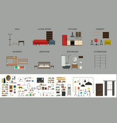 Furniture interior elements vector
