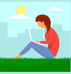 Girl outdoor distant work concept background flat vector
