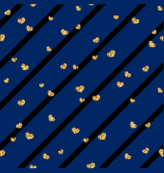 Gold heart seamless pattern black-blue geometric vector