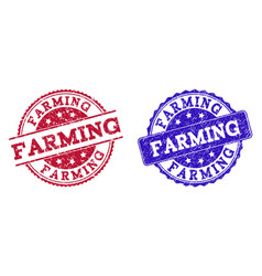 Grunge scratched farming stamp seals vector