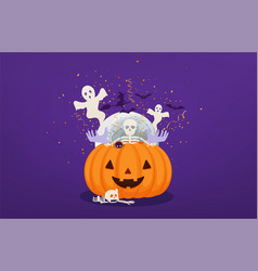 halloween pumpkin with dead mans hands and vector image