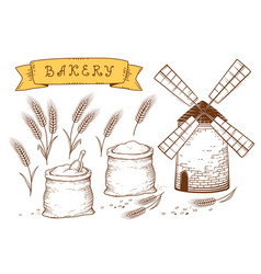 hand drawn bakery set vector image