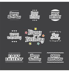 Happy Birthday set Label design collection vector