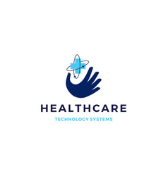 healthcare tech hand logo icon vector image