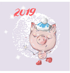 Hello 2019 cute pig new year animal symbol merry vector