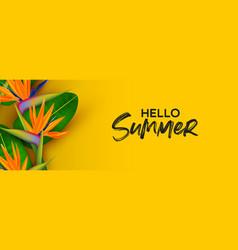 Hello summer banner 3d paradise bird flower vector