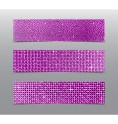 Horizontal set Pink sequins banners Glitter vector