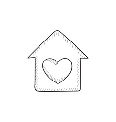 House with heart symbol sketch icon vector image