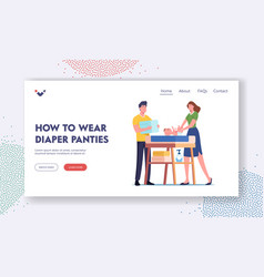 How to wear diaper panties landing page template vector