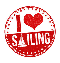 i love sailing sign or stamp vector image