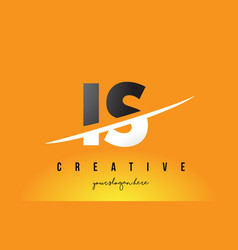 Is i s letter modern logo design with yellow vector