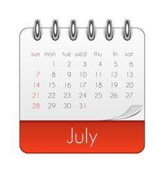 July 2019 calendar leaf template vector
