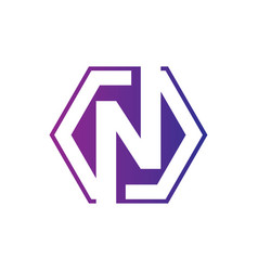 letter n hexagon business logo vector image
