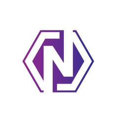 letter n hexagon business logo vector image