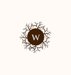 letter w circle wooden root creative logo vector image