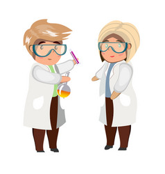 man and woman looking at flask isolated vector image