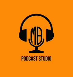 Mb monogram headphone and microphone style vector
