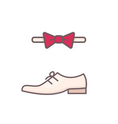 men shoe and bow tie vector image